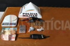 PM cumpre mandado de busca e apreensão em uma residência no bairro Bethânia e apreende revolver, dinheiro e materiais ilícitos em Itabira