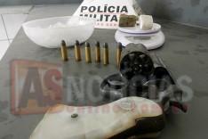 Denuncia anônima ajuda PM a localizar revolver e drogas escondidas em loteamento perto do Parque de Exposições