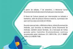 Memorial Carlos Drummond de Andrade será fechado  em setembro para manutenção