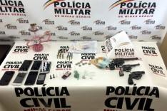Operação conjunta da PM e PC prende seis pessoas e apreende munições, armas e drogas em Santa Barbara