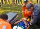 JOGADOR DE FUTEBOL SOFRE FRATURA E RECEBI ATENDIMENTO DOS ANJOS DO ASFALTO