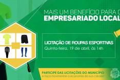 Licitação de roupas esportivas terá benefício para o empresário local