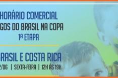 Comércio terá horário de funcionamento especial durante jogos do Brasil