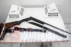 PM prende dois e apreende espingarda e facão na Zona Rural de Senhora do Carmo