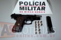 PM apreende pistola 380 ao ser acionada por uma mulher que estava sendo agredida no Ribeira de Cima
