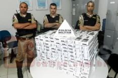 Grupo Tático Rodoviário apreende quase 2000 maços de cigarro contrabandeado na MG-129 no Barreiro em Itabira