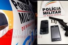 PM de Bom Jesus do Amparo prendeu três e apreendeu Garrucha e munições na BR-381