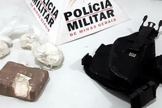 PM apreende barra de cocaína e coldre de pistola na Rua Garça no bairro Pedreira do Instituto