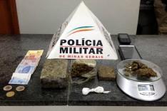 PM de Barão de Cocais apreende drogas e veiculo produto de crime no bairro Garcia