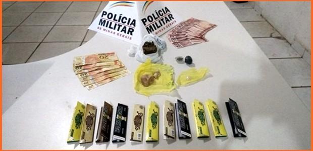 Policia Militar de Dionísio apreende drogas e suspeito de tráfico