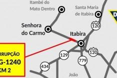 Tráfego na AMG-1240 será temporariamente interrompido em Itabira