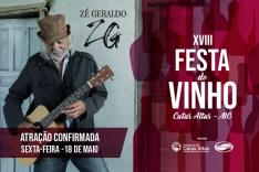 Zé Geraldo é a segunda atração confirmada na XVIII Festa do Vinho