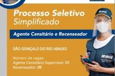 IBGE abre 10 vagas para contratação em  São Gonçalo do Rio Abaixo