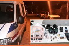PM de Barão de Cocais prendeu individuo com mandado de prisão em aberto e apreendeu droga e materiais ilícitos no bairro Leão XIII