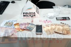 Policia Militar prende três pessoas suspeitas de trafico de drogas em bar no bairro Alto Pereira
