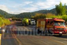 Trânsito na rodovia MGC-120 e linha férrea Vitoria Minas em Capoeirana permanecem interditadas em Nova Era