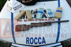 PM apreende no bairro Monsenhor José Lopes mais de 5 quilos de maconha e uma espingarda calibre 12